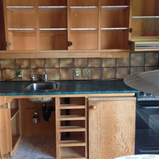 The kitchen before re-finishing